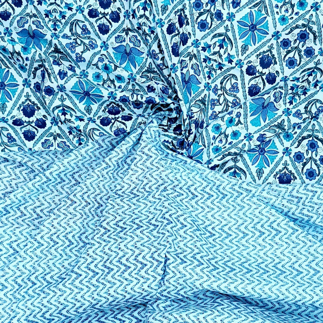 Powder Blue Cotton Hand Block Top & Bottom Set - 2.5 mtr each