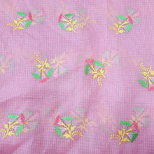 Load image into Gallery viewer, Mauvish Pink Cotton Kota Embroidered Fabric