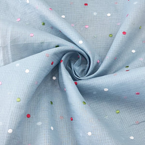 Light Grey Cotton Kota Embroidered Fabric