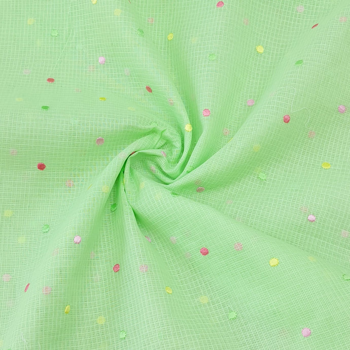 Mint Green Cotton Kota Embroidered Fabric