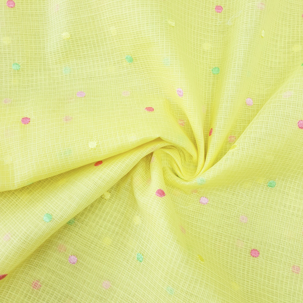 Lemon Yellow Cotton Kota Embroidered Fabric