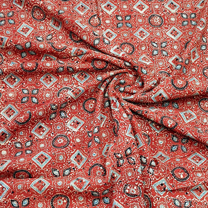 Brick Red Ajrakh Hand Block Printed Pure Cotton Natural Dyed Fabric