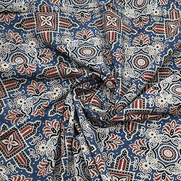 Indigo Blue Ajrakh Hand Block Printed Pure Cotton Natural Dyed Fabric
