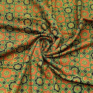 Green Ajrakh Hand Block Printed Pure Cotton Natural Dyed Fabric