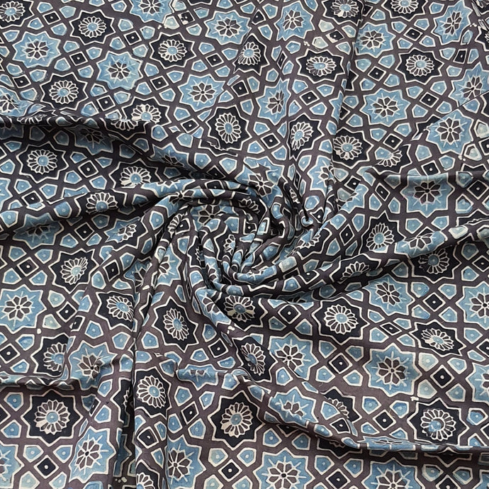 Grey & Black Ajrakh Hand Block Printed Pure Cotton Natural Dyed Fabric