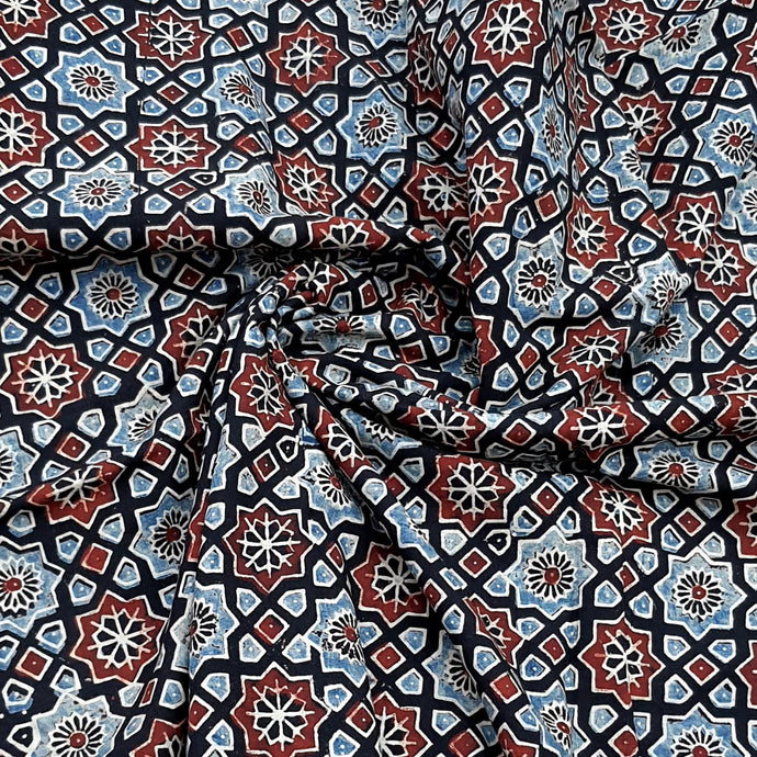 Black Base Ajrakh Hand Block Printed Pure Cotton Natural Dyed Fabric