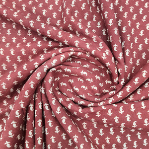 Maroonish Red Ajrakh Hand Block Printed Pure Cotton Natural Dyed Fabric