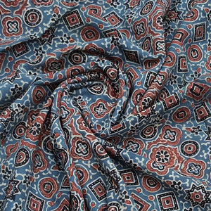 Indigo Blue Base Ajrakh Hand Block Printed Pure Cotton Natural Dyed Fabric