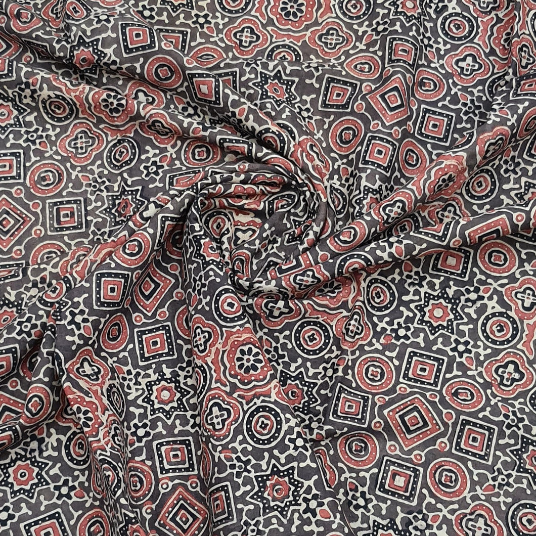 Brown Base Ajrakh Hand Block Printed Pure Cotton Natural Dyed Fabric