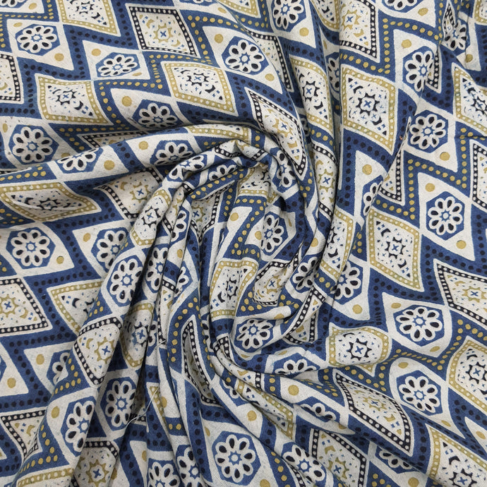Blue & Pista Green Ajrakh Hand Block Printed Pure Cotton Natural Dyed Fabric