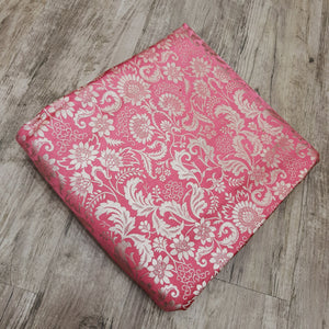 Pink Base Brocade Pure Banarsi silk Water Gold Zari Fabric