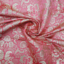 Load image into Gallery viewer, Pink Base Brocade Pure Banarsi silk Water Gold Zari Fabric