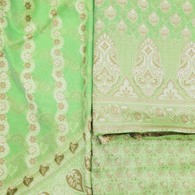 Load image into Gallery viewer, Mint Green Chanderi Jamawar Weave Suit Set With Dupatta Unstiched Suit Set