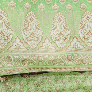 Mint Green Chanderi Jamawar Weave Suit Set With Dupatta Unstiched Suit Set