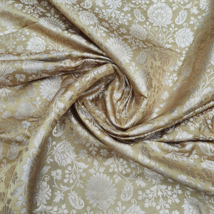 Golden Base Brocade Pure Banarsi silk Water Gold Zari Fabric