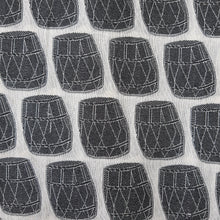 Load image into Gallery viewer, Black & White Poly Chanderi Self Printed Fabric