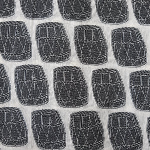 Black & White Poly Chanderi Self Printed Fabric