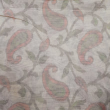 Load image into Gallery viewer, Cream Poly Chanderi Multi Color Self Printed Fabric