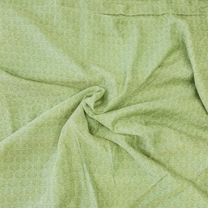 Light Green Poly Chanderi Self Printed Fabric