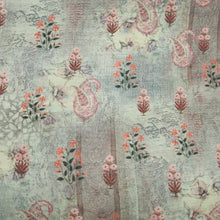 Load image into Gallery viewer, Pista Green Poly Chanderi Floral Paisley Self Printed Fabric