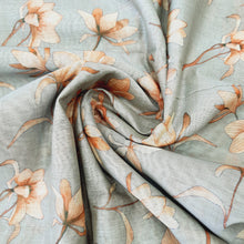 Load image into Gallery viewer, Greyish Blue Poly Chanderi Floral Self Printed Fabric