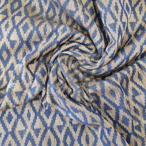 Blue Poly Chanderi Abstract Self Printed Fabric