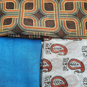 Assorted Cotton Chanderi Digital Print Kurtis (Set of 3)  - 2.5 Mtr Kurtis Each