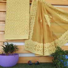 Load image into Gallery viewer, Aplique Work on Cotton Fabric with Organdy Dupatta-Golden