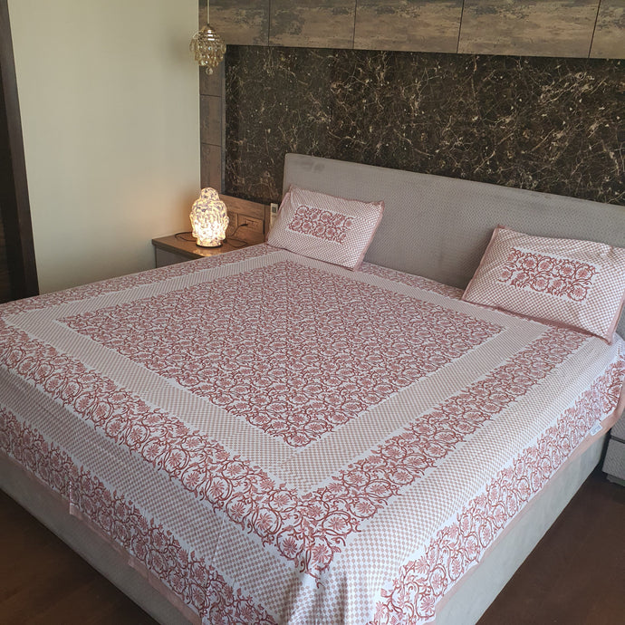 Light Brown with Beige & Blush Pink Print Floral Design Pure Cotton Handloom Block Printed Bedsheet with 2 Pillow Covers(Super KING SIZE XXL-120*120)