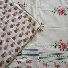 Load image into Gallery viewer, Pista Green & Pink  Floral On Off White Base Pure Cotton Handloom Block Printed Double Bed Dohar