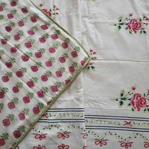 Pista Green & Pink  Floral On Off White Base Pure Cotton Handloom Block Printed Double Bed Dohar