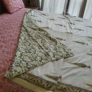 Pista Green & Yellow  Floral On Off White Base Pure Cotton Handloom Block Printed Double Bed Dohar