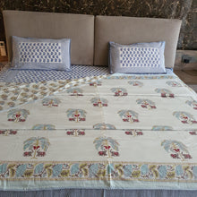 Load image into Gallery viewer, Pista Green & Yellow  Floral On Off White Base Pure Cotton Handloom Block Printed Double Bed Dohar