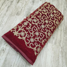 Load image into Gallery viewer, Maroon Micro Velvet with Golden Zari Embroidered Fabric