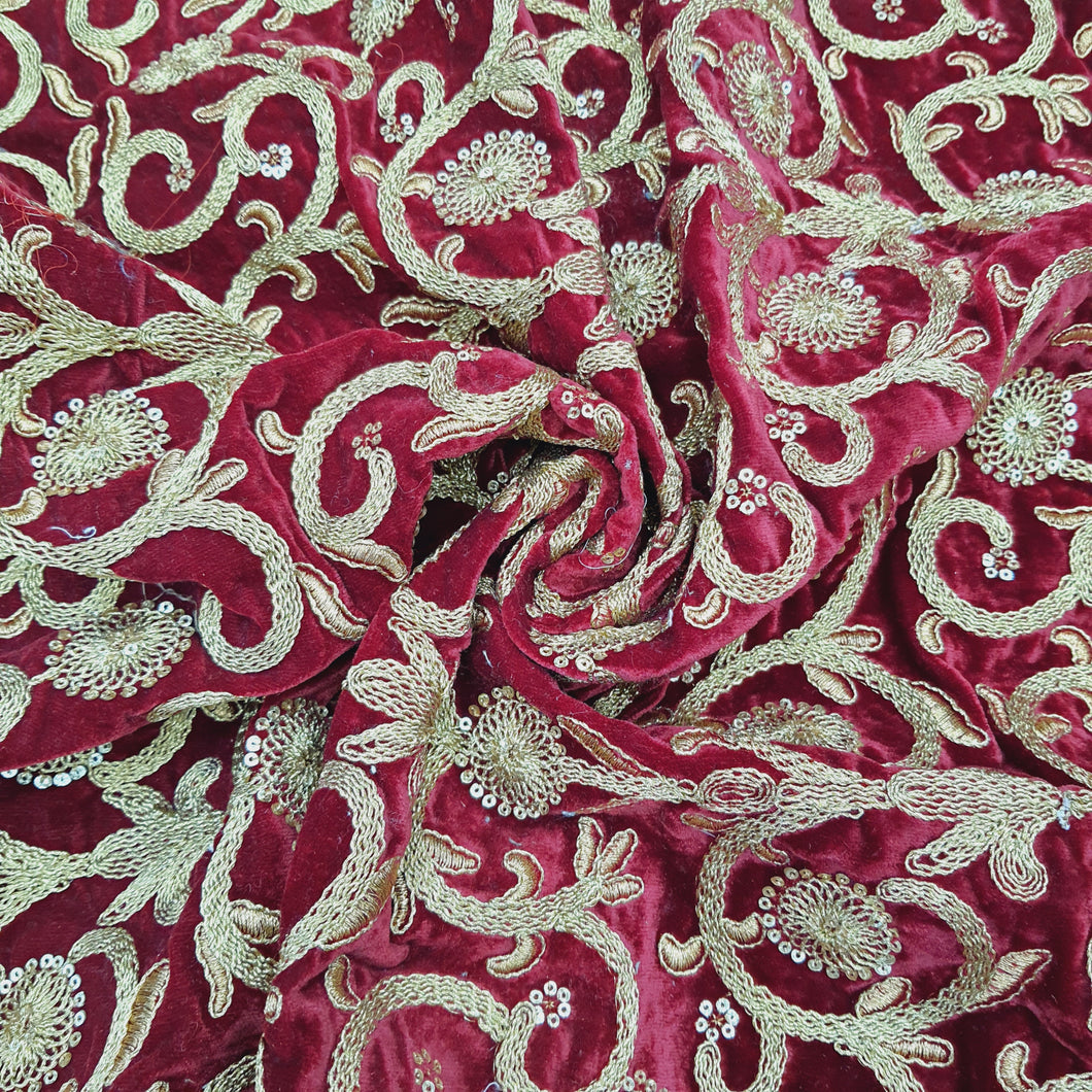 Maroon Micro Velvet with Golden Zari Embroidered Fabric