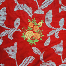 Load image into Gallery viewer, Red Micro Velvet sequence Embroidered Fabric