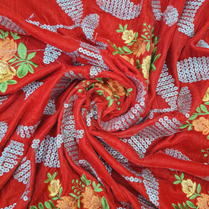 Red Micro Velvet sequence Embroidered Fabric