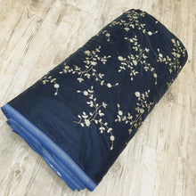 Load image into Gallery viewer, Navy Blue Micro Velvet with Golden Zari Embroidered Fabric