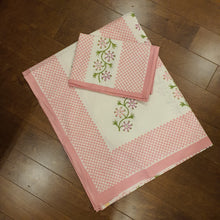 Load image into Gallery viewer, Pink & Green On Off White Base Floral Pure Cotton Handloom Block Printed Bedsheet with 2 Pillow Covers