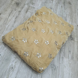 Beige Micro Velvet Gotta patti Embroidered Fabric
