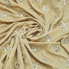 Load image into Gallery viewer, Beige Micro Velvet Gotta patti Embroidered Fabric