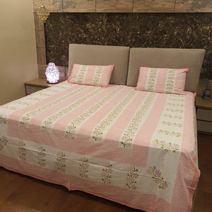 Pink & Green On Off White Base Floral Pure Cotton Handloom Block Printed Bedsheet with 2 Pillow Covers