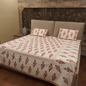 Brown and Beige print On White Base Pure Cotton Handloom Block Printed Bedsheet with 2 Pillow Covers