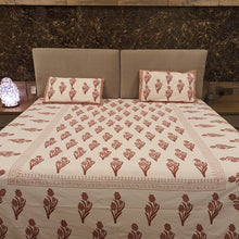 Load image into Gallery viewer, Brown and Beige print On White Base Pure Cotton Handloom Block Printed Bedsheet with 2 Pillow Covers