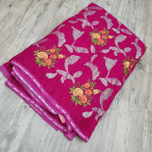 Rani Pink Micro Velvet sequence Embroidered Fabric