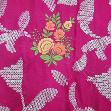 Load image into Gallery viewer, Rani Pink Micro Velvet sequence Embroidered Fabric