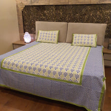 Load image into Gallery viewer, Green & Blue On Off  Base White Floral Pure Cotton Handloom Block Printed Bedsheet with 2 Pillow Covers