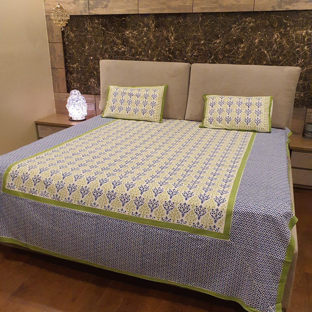 Green & Blue On Off  Base White Floral Pure Cotton Handloom Block Printed Bedsheet with 2 Pillow Covers