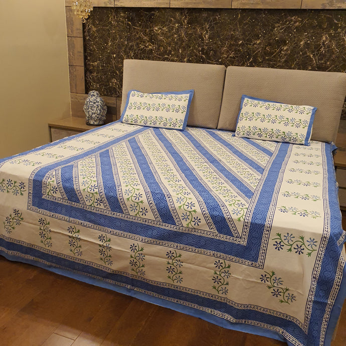 Blue & Green Print On White  Pure Cotton Handloom Block Printed Bedsheet with 2 Pillow Covers(KING SIZE)