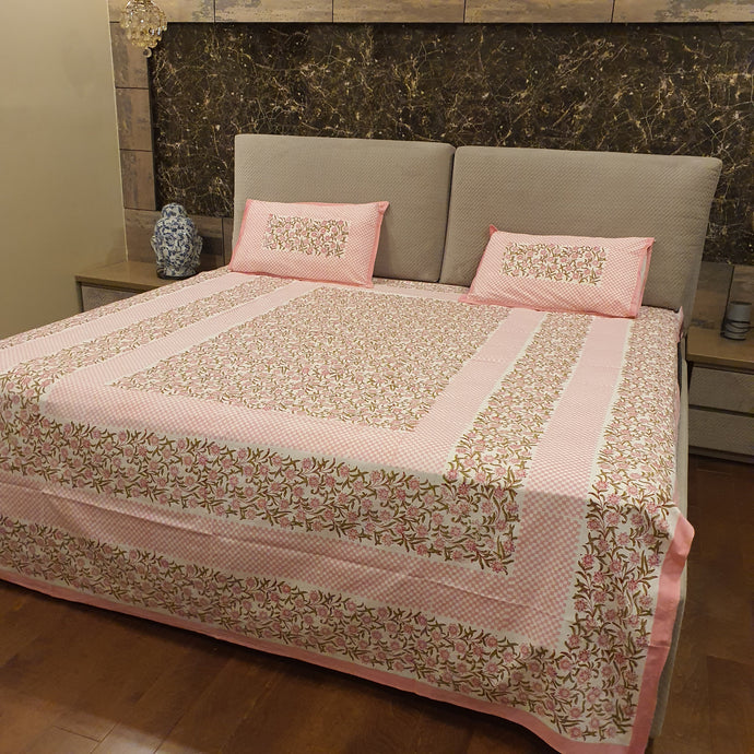 Pink & Green Print On Off White Base Floral Pure Cotton Handloom Block Printed Bedsheet with 2 Pillow Covers